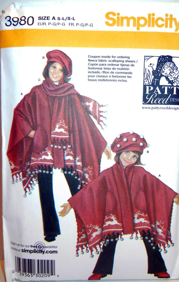 Child and Misses' Poncho, Scarf and Hat Pattern-- Small, Medium, Large - Simplicity 3980