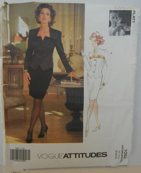 """Women's Sophisticated Fitted Jacket & Skirt, Suit Pattern- Size 18, 20, 22 -  Bust 40"""", 42"""", 44""""- Vogue 1052"""