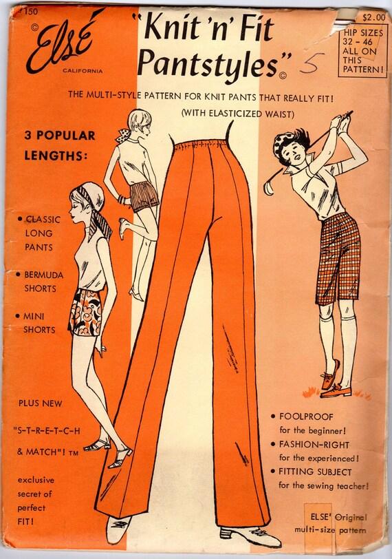 "1970s Women's Pants, Bermuda Shorts and Mini Shorts Pattern-- Else 150- hips 32"" - 46"""