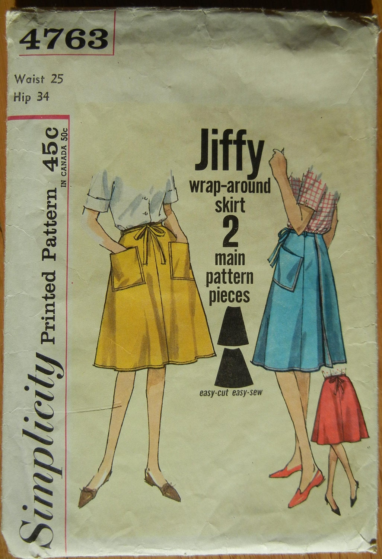 1960s Jiffy Wrap Around Skirt Pattern Vintage By Jeaniesshop