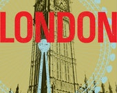 "London England Ochre Gold Big Ben Modern European City Large 16"" x 20"" Canvas Wrapped Frame: London"