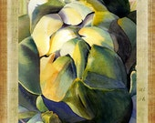 "Artichoke Watercolor Green Gold Purple Large 16"" x 20"" Canvas-Wrapped Frame: One"
