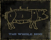 "Pig Chart The Whole Hog Butcher Chart Black Gold 22"" x 16"" Canvas Wrapped Frame"