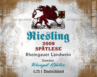 "Wine Label German Riesling White Crest Spaetlese Large 20"" x 16"" Canvas-Wrapped Frame: German Riesling"