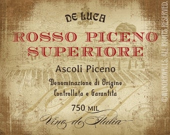 "Wine Label Italian Rustic Vineyard Rosso Piceno Large 20"" x 16"" Canvas-Wrapped Frame: Italian Red"