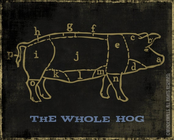 "Pig Chart The Whole Hog Black Gold 10"" x 8"" High-Quality Archival Print"