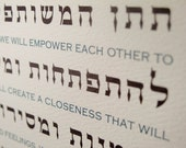 "Reform Printed Ketubah in Blue-Green and Brown interlinear text with ""Mirror"" papercut design"