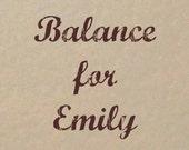 Balance Listing for Emily