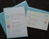 Chevron Yellow, Tiffany Blue/Aqua, Coral/Pink Flower Wedding Invitation Suite - Custom Colors - Panel Pocket