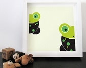 Modern Kids Wall Art Twin Frogs / Green black : high quality prints from original izzybizzy illustrations