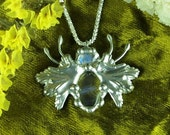 Moonstone Bug Tiffany Style Silver Pendant with Wings