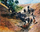 Up Cottonwood Draw, Cattle Drive, Western wildlife, fine art watercolor, cows, canvas giclee print