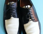 Vintage Men's Two Tone Black and White Shoes Retro Size 9 VLV Rockabilly Hipster