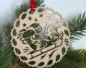 Santa in Sleigh wooden Holiday ornament