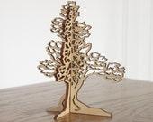 3D Juniper tree ornament wood-cut Self standing tree decoration