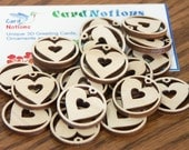 Wooden Hearts supply for jewelry tag crafting 20 pieces