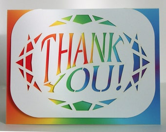 Thank you card paper cut design blank inside