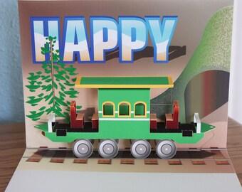3D Pop-up Train Passenger Car Birthday card