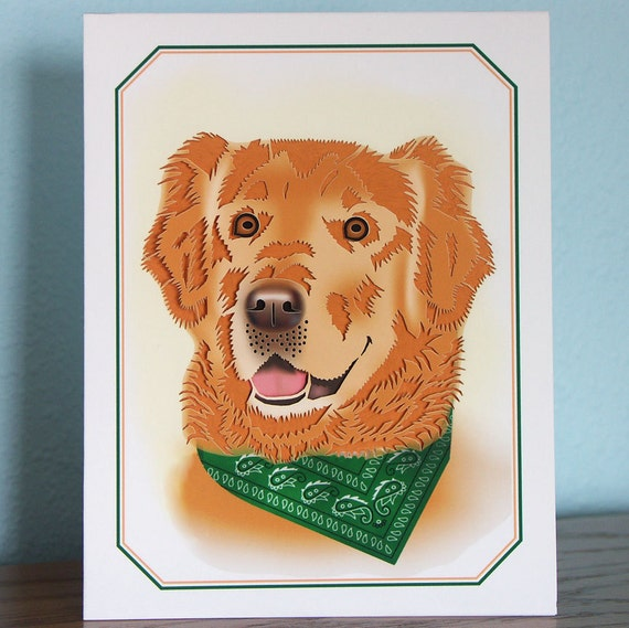 Golden retriever Card Intricately Cut out blank inside