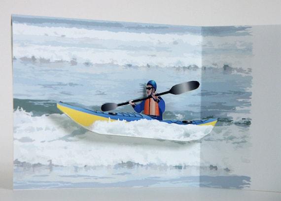 3D Pop up kayak Card ocean paddler Any occasion Greeting card
