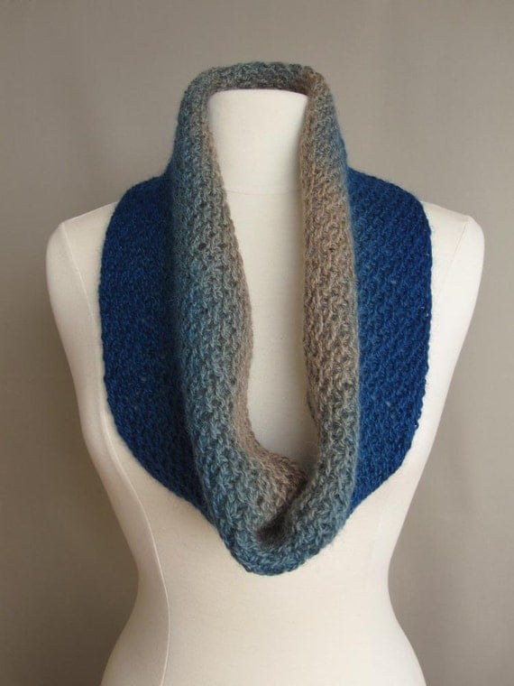 Knitted Cowl with Ombre Overdye - Sky Blue & Tan