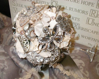 TINKERBELL - Pink Grey Brooch Bridal Bouquet - TINKERBELL
