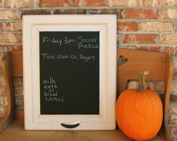 Distressed Chalkboard Frame Upcycled From An Old Cabinet Door