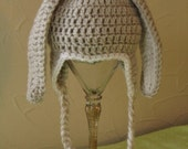 Grey and white Easter bunny floppy ear hat