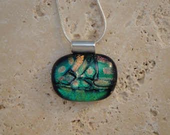 Dichroic Multi-Colored Fused Glass Pendant - BHS01395