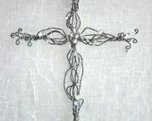 White & Clear Beaded Wire Cross - Gifts under 30
