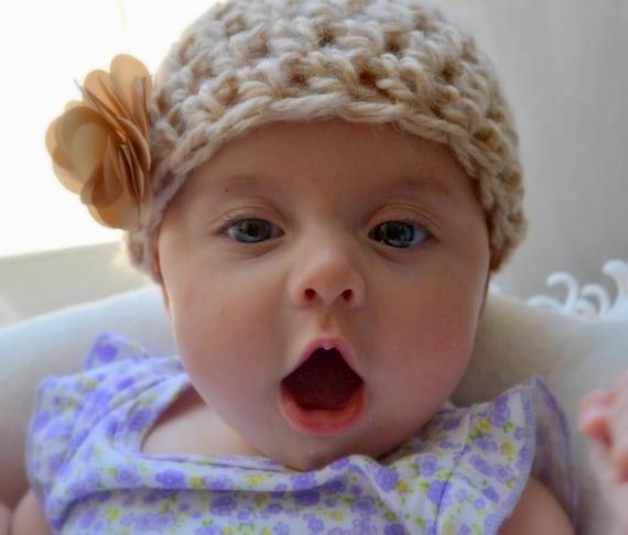 Organic Baby Girl Hat Beanie with Flower