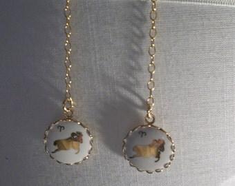 Repurposed Aries Earrings on Gold Chain