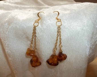 Amber on Gold Chain Dangle Earrings