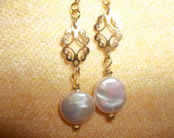 Coin Pearl Earrings with Gold Accents
