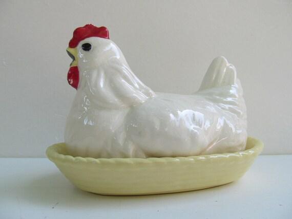 Vintage California Cleminson Hen on Nest Dish
