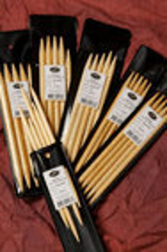 """SRK Bamboo double point needles 3.75mm  6 """"  1 set of 5"""