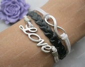 bracelet---The Ture love will go on bracelet,antique silver love bracelet,infinity bracelet,black braid bracelet---Z257