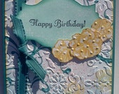 Handmade, 3-Dimensional, Stamped, Happy Birthday Card in Purples Teal and White