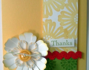 Handmade, 3-Dimensional, Stamped Thank you Card