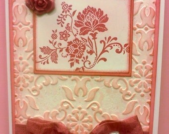 Handmade, 3-Dimensional, Stamped and Embossed Card