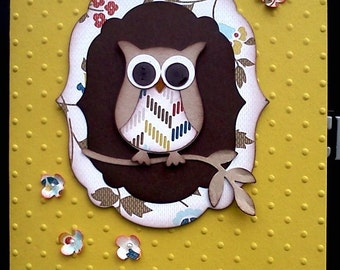 Handmade, 3-Dimensional, Embossed Owl Card for Any Occasion