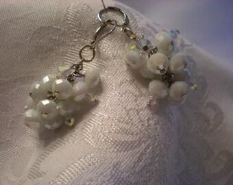 White glass and Swarovski crystal earrings