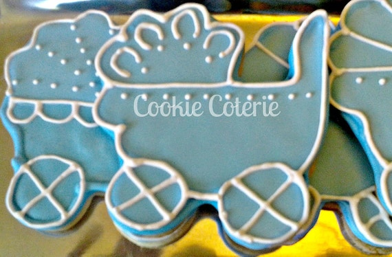 Large Baby Carriage Decorated Sugar Cookie Baby Shower Cookie Favors