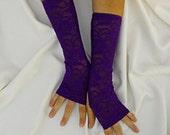SALE Amethyst Long Lace Fingerless Gloves - Pretty in Purple Long Stretch Lace Gloves