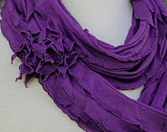 Purple Passion Scarf - Amethyst Ruffled Infinity Scarf .