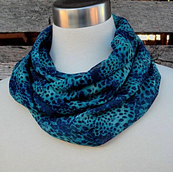 Blue Cheetah Infinity Scarf  -  Cheetah Animal Print Chiffon Scarf