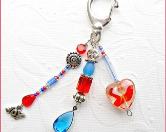 Red White and Blue Heart Clip with Charms