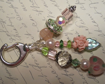 Pinks and Greens - Decorative Clip with Rose