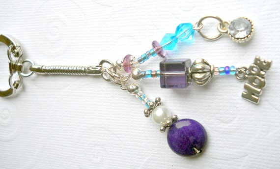 Purple and Blue Beaded Key Chain with Charms