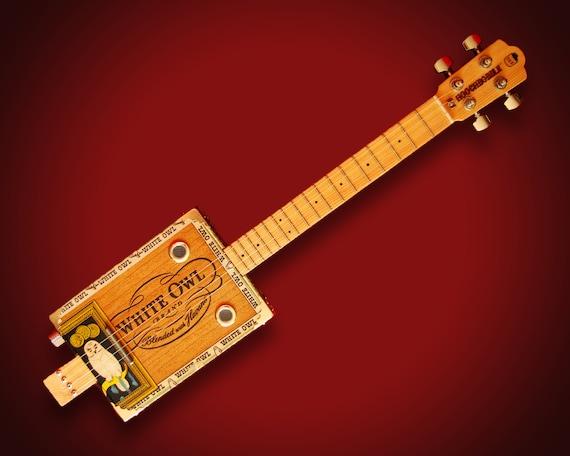 "Hoochbobble Acoustic / Electric 4-String Cigar Box Guitar / Ukulele - ""White Owl"""
